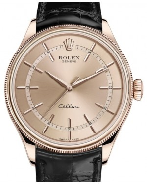 Rolex Cellini Time Rose Gold Pink Index Dial Domed & Fluted Double Bezel Black Leather Bracelet 50505 - BRAND NEW