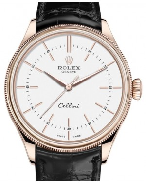 Rolex Cellini Time Rose Gold White Index Dial Domed & Fluted Double Bezel Black Leather Bracelet 50505 - BRAND NEW