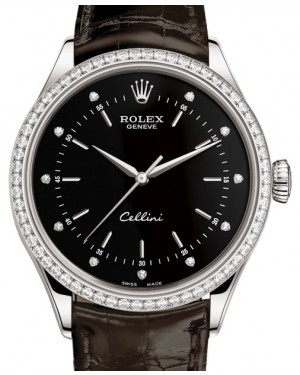 Rolex Cellini Time White Gold Black Diamond Dial Diamond Bezel Tobacco Leather Bracelet 50709RBR - BRAND NEW