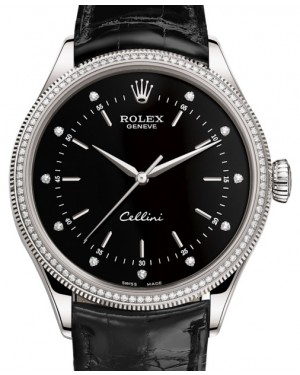 Rolex Cellini Time White Gold Black Diamond Dial Diamond & Fluted Double Bezel Black Leather Bracelet 50609RBR - BRAND NEW