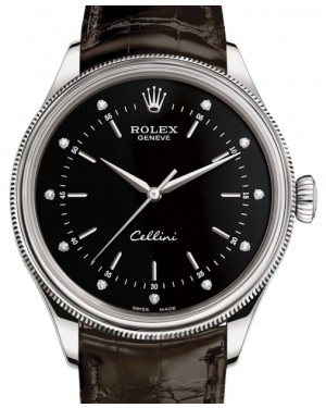 Rolex Cellini Time White Gold Black Diamond Dial Domed & Fluted Double Bezel Tobacco Leather Bracelet 50509 - BRAND NEW