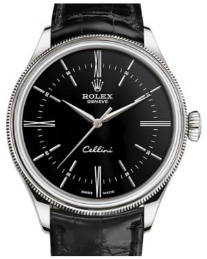 Rolex Cellini Time White Gold Black Index / Roman Dial Domed & Fluted Double Bezel Black Leather Bracelet 50509 - BRAND NEW