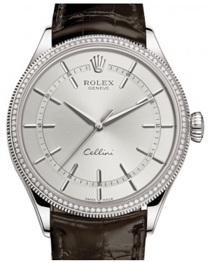 Rolex Cellini Time White Gold Rhodium Index Dial Diamond & Fluted Double Bezel Tobacco Leather Bracelet 50609RBR - BRAND NEW