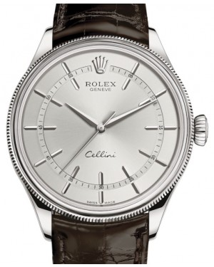 Rolex Cellini Time White Gold Rhodium Index Dial Domed & Fluted Double Bezel Tobacco Leather Bracelet 50509 - BRAND NEW