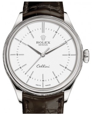 Rolex Cellini Time White Gold White Index Dial Domed & Fluted Double Bezel Tobacco Leather Bracelet 50509 - BRAND NEW