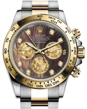 Rolex Daytona Yellow Gold/Steel Black Mother of Pearl Diamond Dial Yellow Gold Bezel Oyster Bracelet 116503 - BRAND NEW