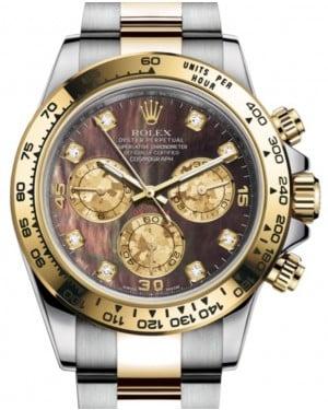 Rolex Daytona Yellow Gold/Steel Black Mother of Pearl Diamond Dial Yellow Gold Bezel Oyster Bracelet 116503 - BRAND NEW