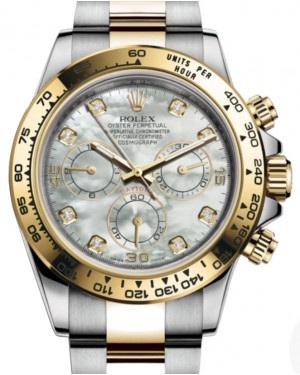 Rolex Daytona Yellow Gold/Steel White Mother of Pearl Diamond Dial Yellow Gold Bezel Oyster Bracelet 116503 - BRAND NEW