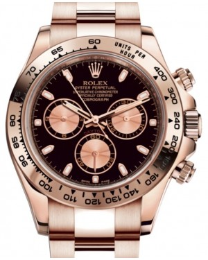 Rolex Daytona 116505 Black Index Pink Subdials Rose Gold Oyster Chronograph BRAND NEW