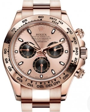 Rolex Daytona Rose Gold Pink & Black Index Dial Rose Gold Bezel Oyster Bracelet 116505 - BRAND NEW
