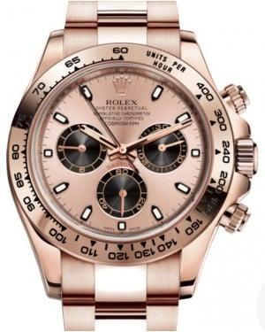 Rolex Daytona Rose Gold Pink & Black Index Dial Rose Gold Bezel Oyster Bracelet 116505 - BRAND NEW