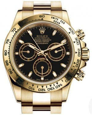 Rolex Daytona Yellow Gold Black Index Dial Yellow Gold Bezel Oyster Bracelet 116508 - BRAND NEW