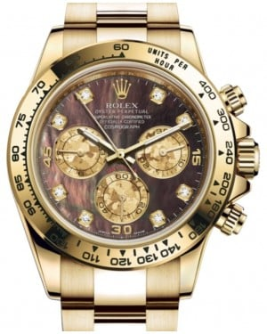 Rolex Daytona Yellow Gold Dark Mother of Pearl Diamond Dial Yellow Gold Bezel Oyster Bracelet 116508 - BRAND NEW