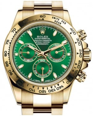 Rolex Daytona Yellow Gold Green Index Dial Yellow Gold Bezel Oyster Bracelet 116508 - BRAND NEW
