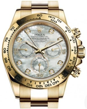 Rolex Daytona Yellow Gold White Mother of Pearl Diamond Dial Yellow Gold Bezel Oyster Bracelet 116508 - BRAND NEW