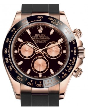 Rolex Daytona Rose Gold Black/Pink Index Dial Ceramic Bezel Oysterflex Rubber Bracelet 116515LN - BRAND NEW
