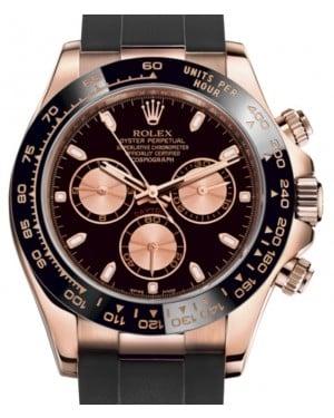 Rolex Daytona Rose Gold Black/Pink Index Dial Ceramic Bezel Oysterflex Rubber Bracelet 116515LN - BRAND NEW