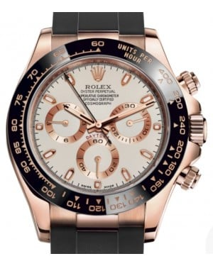 Rolex Daytona Rose Gold Ivory Index Dial Ceramic Bezel Oysterflex Rubber Bracelet 116515LN - BRAND NEW