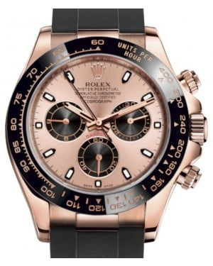 Rolex Daytona Rose Gold Pink/Black Index Dial Ceramic Bezel Oysterflex Rubber Bracelet 116515LN - BRAND NEW