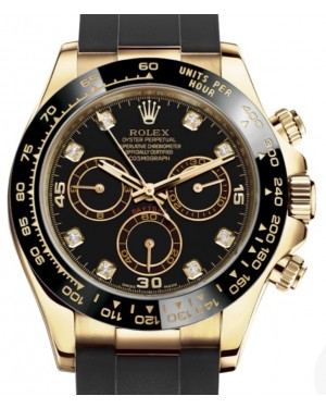 Rolex Daytona Yellow Gold Black Diamond Dial Ceramic Bezel Oysterflex Rubber Bracelet 116518LN - BRAND NEW