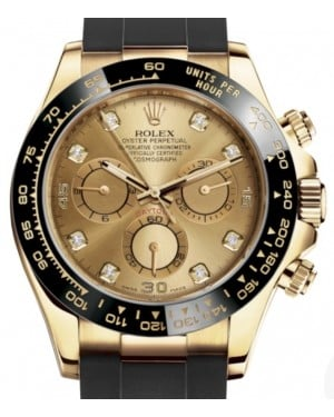 Rolex Daytona Yellow Gold Champagne Diamond Dial Ceramic Bezel Oysterflex Rubber Bracelet 116518LN - BRAND NEW