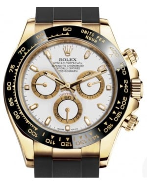 Rolex Daytona Yellow Gold White Index Dial Ceramic Bezel Oysterflex Rubber Bracelet 116518LN - BRAND NEW