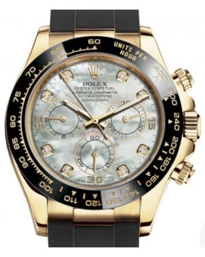 Rolex Daytona Yellow Gold White Mother Of Pearl Diamond Dial Ceramic Bezel Oysterflex Rubber Bracelet 116518LN - BRAND NEW