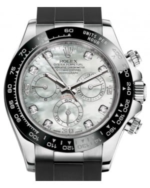 Rolex Daytona White Gold White Mother Of Pearl Diamond Dial Ceramic Bezel Oysterflex Rubber Bracelet 116519LN - BRAND NEW