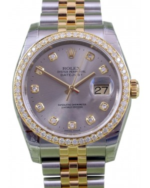 Rolex Datejust 116233 Diamond Dial and Bezel 36mm Yellow Gold Stainless Steel Jubilee