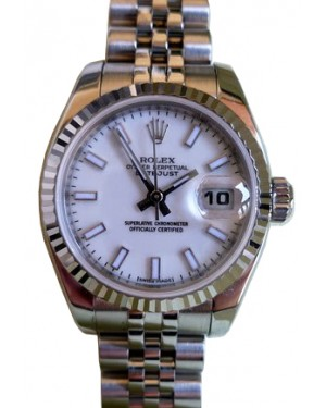 Rolex Datejust 179174 26mm Ladies Small White Index Oyster Stainless Steel 18k White Gold Fluted