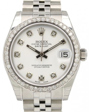 Rolex Datejust 31 Lady Midsize Stainless Steel White Diamond Dial & Bezel Jubilee Bracelet 178240 - BRAND NEW
