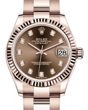 Rolex Datejust 31 Lady Midsize Rose Gold Chocolate Diamond Dial & Fluted Bezel Oyster Bracelet 278275 - BRAND NEW