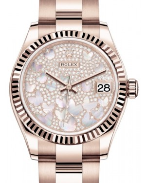 Rolex Datejust 31 Lady Midsize Rose Gold Diamond Pave Mother of Pearl Butterfly Dial & Fluted Bezel Oyster Bracelet 278275 - BRAND NEW