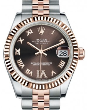 Rolex Datejust 31 Lady Midsize Rose Gold/Steel Chocolate Roman Diamond VI Dial & Fluted Bezel Jubilee Bracelet 178271 - BRAND NEW