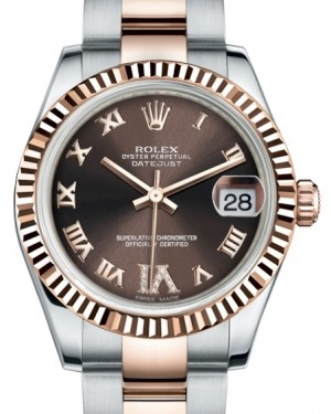 Rolex Datejust 31 Lady Midsize Rose Gold/Steel Chocolate Roman Diamond VI Dial & Fluted Bezel Oyster Bracelet 178271 - BRAND NEW