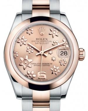 Rolex Datejust 31 Lady Midsize Rose Gold/Steel Pink Floral Motif Arabic Dial & Smooth Domed Bezel Oyster Bracelet 178241 - BRAND NEW