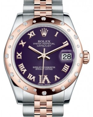 Rolex Datejust 31 Lady Midsize Rose Gold/Steel Purple Roman Diamond VI Dial & Diamond Set Domed Bezel Jubilee Bracelet 178341 - BRAND NEW