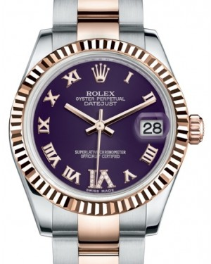 Rolex Datejust 31 Lady Midsize Rose Gold/Steel Purple Roman Diamond VI Dial & Fluted Bezel Oyster Bracelet 178271 - BRAND NEW