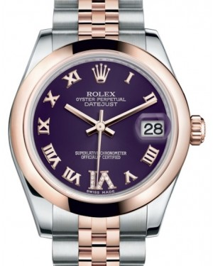 Rolex Datejust 31 Lady Midsize Rose Gold/Steel Purple Roman Diamond VI Dial & Smooth Domed Bezel Jubilee Bracelet 178241 - BRAND NEW