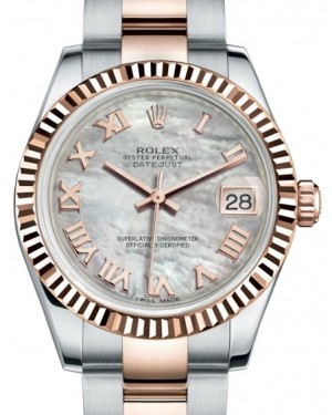 Rolex Datejust 31 Lady Midsize Rose Gold/Steel White Mother of Pearl Roman Dial & Fluted Bezel Oyster Bracelet 178271 - BRAND NEW