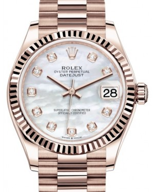 Rolex Datejust 31 Lady Midsize Rose Gold White Mother of Pearl Diamond Dial & Fluted Bezel President Bracelet 278275 - BRAND NEW
