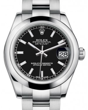 Rolex Datejust 31 Lady Midsize Stainless Steel Black Index Dial & Smooth Domed Bezel Oyster Bracelet 178240 - BRAND NEW
