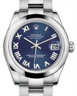 Rolex Datejust 31 Lady Midsize Stainless Steel Blue Roman Dial & Smooth Domed Bezel Oyster Bracelet 178240 - BRAND NEW