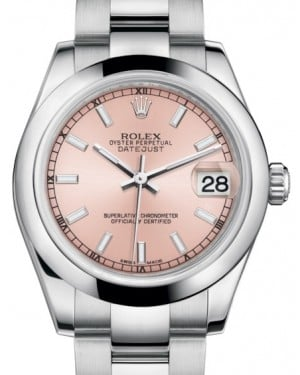 Rolex Datejust 31 Lady Midsize Stainless Steel Pink Index Dial & Smooth Domed Bezel Oyster Bracelet 178240 - BRAND NEW