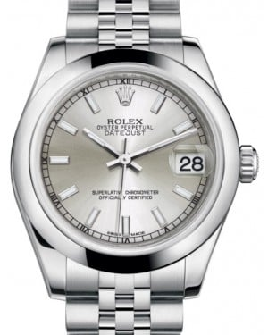 Rolex Datejust 31 Lady Midsize Stainless Steel Silver Index Dial & Smooth Domed Bezel Jubilee Bracelet 178240 - BRAND NEW