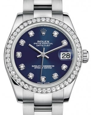 Rolex Datejust 31 Lady Midsize White Gold/Steel Blue Diamond Dial & Diamond Bezel Oyster Bracelet 178384 - BRAND NEW