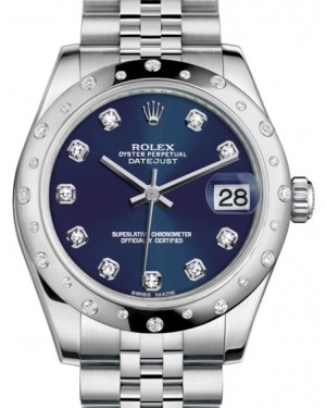 Rolex Datejust 31 Lady Midsize White Gold/Steel Blue Diamond Dial & Diamond Set Domed Bezel Jubilee Bracelet 178344 - BRAND NEW
