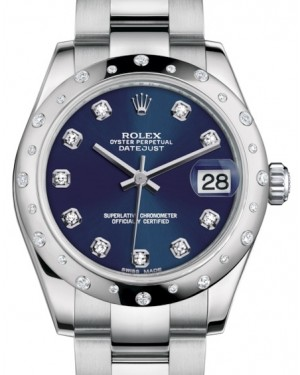 Rolex Datejust 31 Lady Midsize White Gold/Steel Blue Diamond Dial & Diamond Set Domed Bezel Oyster Bracelet 178344 - BRAND NEW