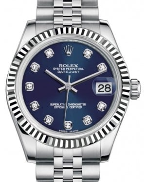 Rolex Datejust 31 Lady Midsize White Gold/Steel Blue Diamond Dial & Fluted Bezel Jubilee Bracelet 178274 - BRAND NEW