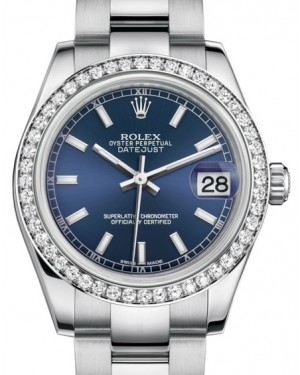Rolex Datejust 31 Lady Midsize White Gold/Steel Blue Index Dial & Diamond Bezel Oyster Bracelet 178384 - BRAND NEW